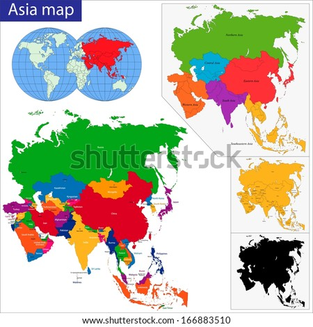 Colorful Asia map with country borders - stock vector