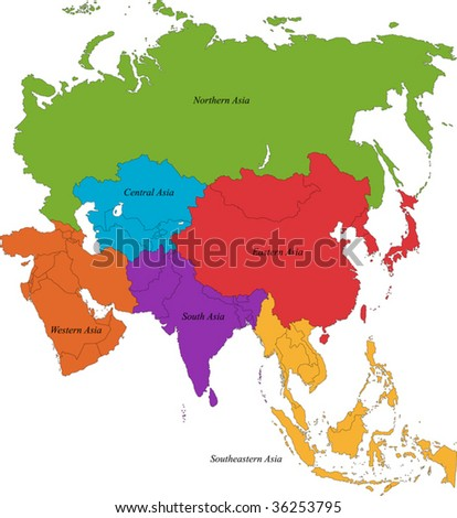 Colorful Asia map with six regions - stock vector