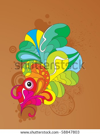 Colorful attractive abstract design. CMYK gamut used. Vector illustration. - stock vector