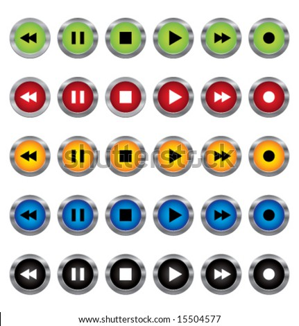 Colorful audio-video control buttons. Vector. - stock vector