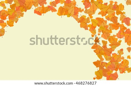 Colorful autumn leaves frame. Autumn background. Vector illustration.