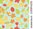 Colorful autumn leaves seamless pattern, vector - stock vector
