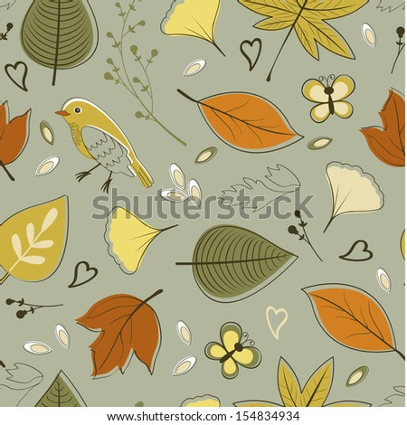 Colorful autumn seamless pattern - stock vector