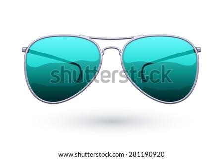 Colorful aviator sunglasses icon fashion vector illustration. Eye care symbol. - stock vector