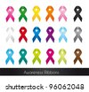 colorful awareness ribbons isolated over white background. vector - stock vector