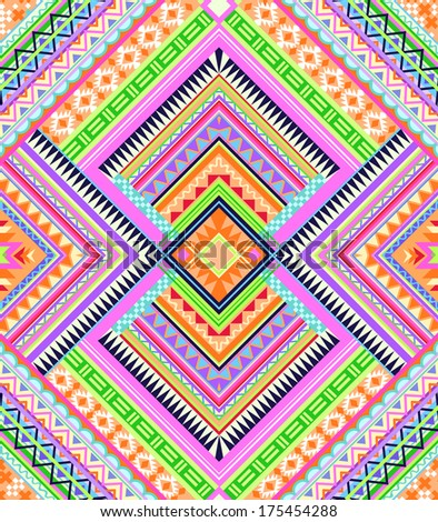 Colorful Aztec pattern ~ seamless vector background - stock vector