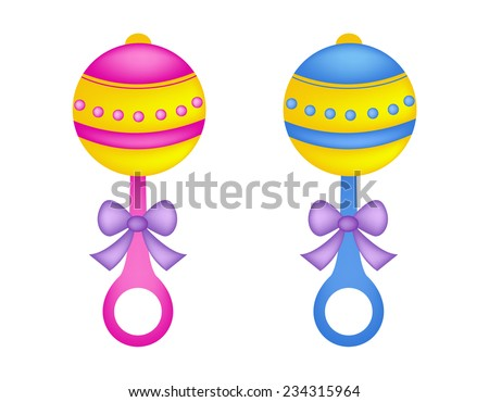 Colorful baby rattles in pink and blue with ribbon bow / baby toys illustration isolated on white background - stock vector