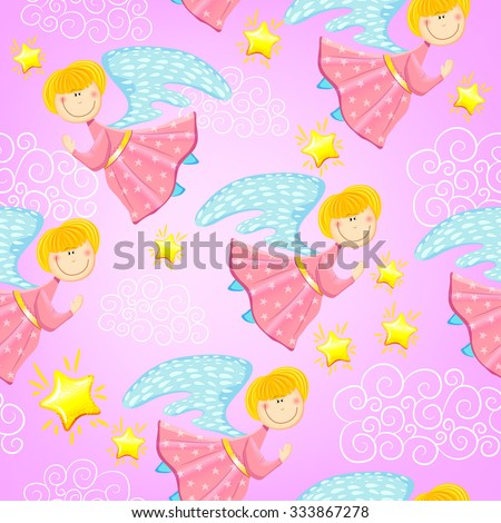 Colorful baby seamless pattern with fairies and stars. Vector background - stock vector