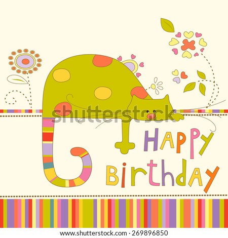 Colorful Baby shower background with cat and flowers. Happy birthday card. - stock vector