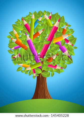 Colorful back to school conceptual tree. Vector file layered for easy manipulation and custom coloring. - stock vector
