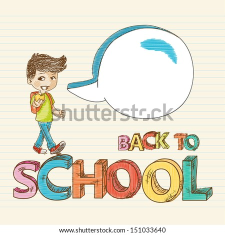Colorful back to school kid with social media speech bubble, education sketch style illustration. Vector file layered for easy editing. - stock vector
