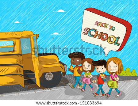 Colorful back to school social media bubble text, cartoon kids walking to school bus illustration. Vector file layered for easy editing. - stock vector