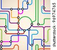 Colorful background of a subway map.Seamless vector - stock vector