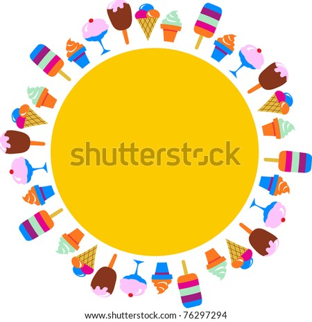 colorful background of different ice-creams, vector illustration - stock vector