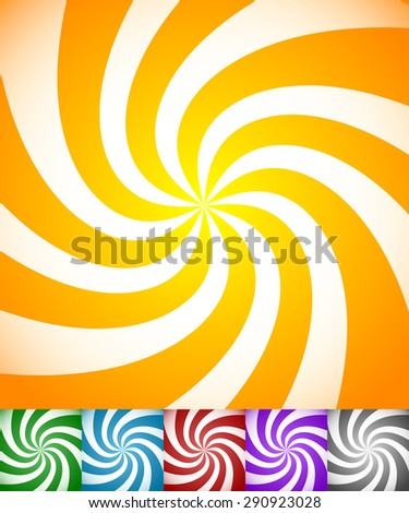 Colorful background set with swirling, rotating, twirling stripes, lines. Bright orange, green, blue, red, purple colors and a grayscale version. - stock vector