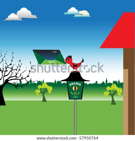 Colorful background with a red bird holding a colored letter and standing on a mailbox - stock vector