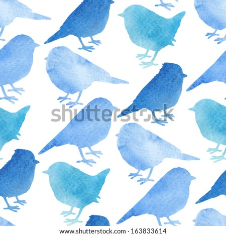Colorful background with birds in watercolor style. Vector seamless pattern - stock vector