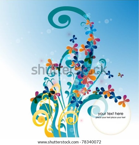 colorful background with butterfly-vector - stock vector