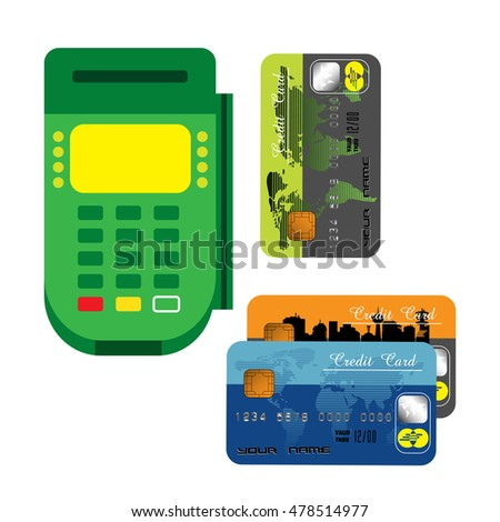 Colorful background with card reader and a few credit cards