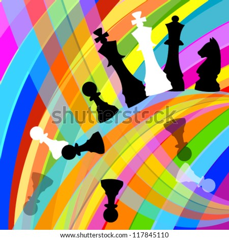 colorful background with chess - stock vector