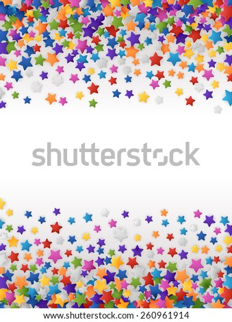 Colorful background with confetti of stars, for greeting cards and celebrations, EPS 10 - stock vector