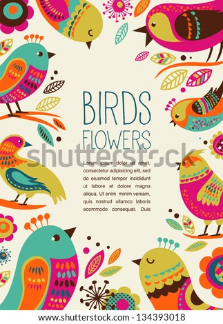 colorful background with cute decorative birds - stock vector