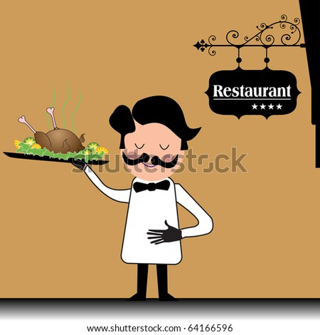 Colorful background with elegant waiter bringing a plate with a roasted chicken - stock vector