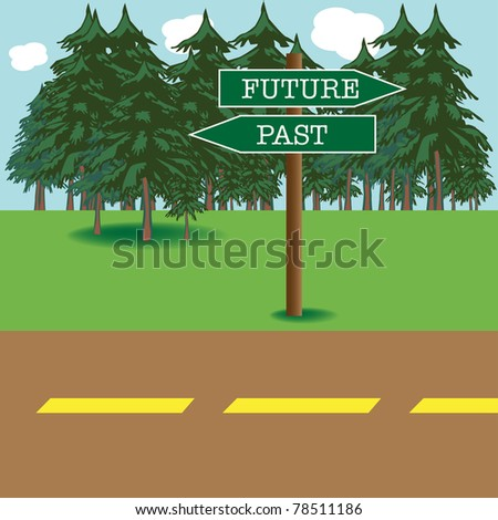 Colorful background with future and past street signs indicating two opposite directions - stock vector