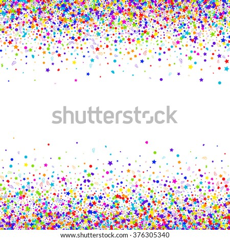 Colorful background with many falling confetti. Carnival background. Vector illustration