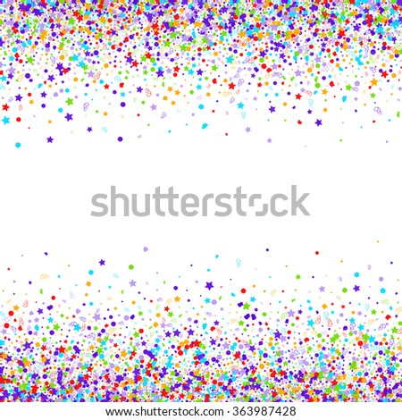 Colorful background with many falling confetti. Vector illustration - stock vector