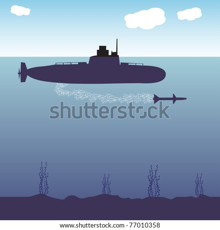 Colorful background with military submarine launching a torpedo. War theme