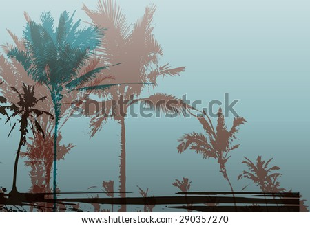 Colorful background with silhouette of palm trees on the beach. Tropical seasonal background for topics of travel, vacation and summer.