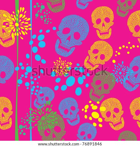 Colorful background with skulls. Pattern - stock vector