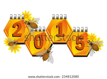 Colorful background with small bees flying near honeycomb shaped calendar sheets. Happy New Year and a great 2015 - stock vector