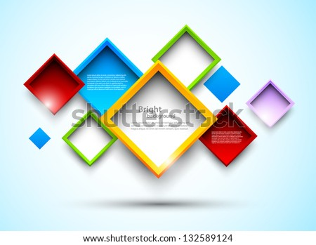 Colorful background with squares - stock vector