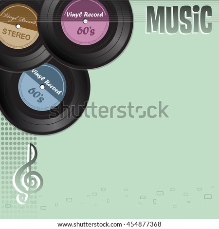 Colorful background with three vinyl records and the word music written with capital letters