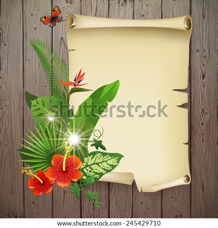 Colorful background with tropical plants and flowers for your original designs! - stock vector