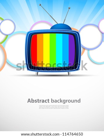 Colorful background with tv. Abstract bright illustration - stock vector