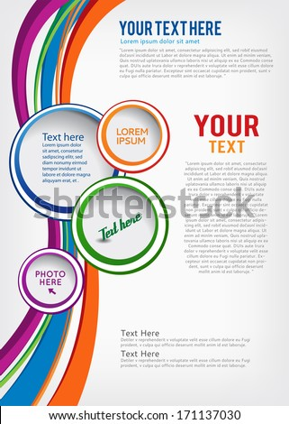 Colorful background with wave - brochure design or flyer - stock vector