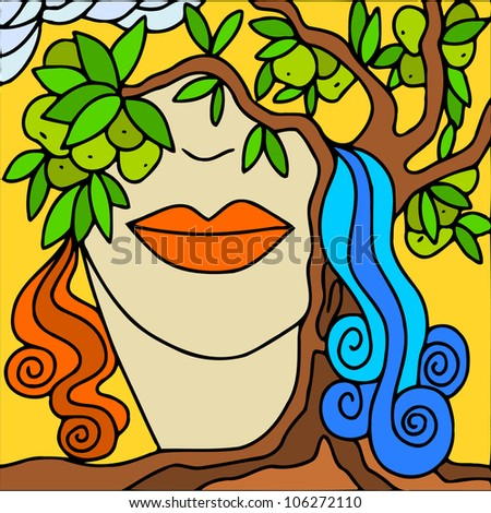 colorful background with woman's face and apples - stock vector