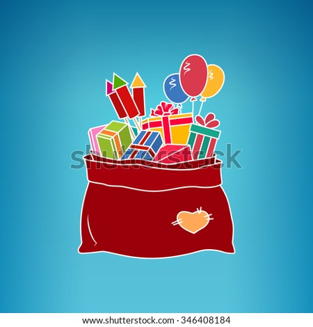 Colorful Bag of Santa Claus with Gifts on a Blue Background, a Bag with Gifts and Multicolored Firecrackers and Balloons,Vector Illustration - stock vector