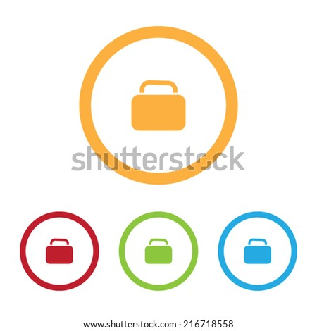Colorful Baggage Icons With Rings - stock vector