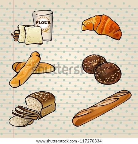Colorful Bakery Products Set (bread, croissant, loaf, baguette). Vector illustration.