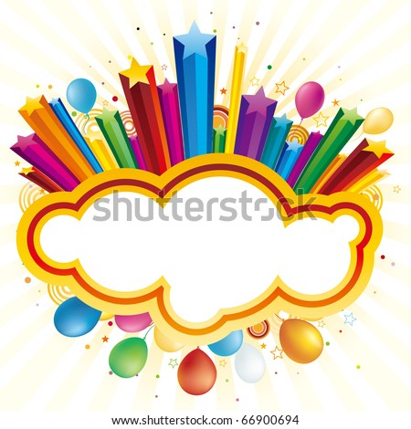 colorful balloon and star,vector celebration background - stock vector