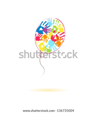 Colorful balloon of the handprints of parents and children - stock vector