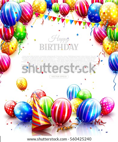 Colorful Balloons Confetti Isolated On White Stock Vector