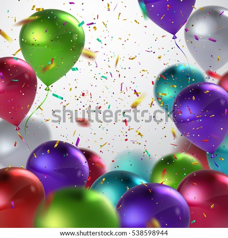 Colorful Balloons And Holiday Confetti Glitters. Vector Holiday Illustration Of Flying Balloons And Confetti Glitters. Award Ceremony Or Other Holiday Event Decoration Element