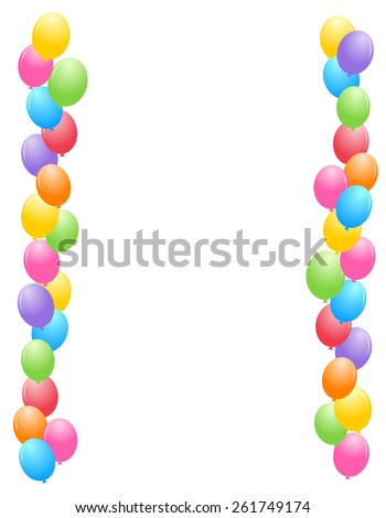 Colorful balloons border / frame illustration for birthday cards and party backgrounds - stock vector