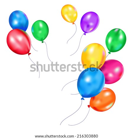 Colorful  balloons flying away - stock vector