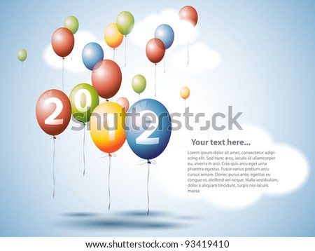 Colorful Balloons on the Sky 2012 - stock vector